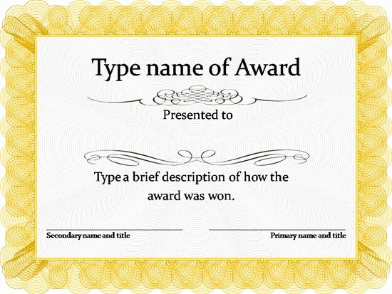 Award Certificate Template Microsoft Word Inspirational 29 Printable Award themes Certificates