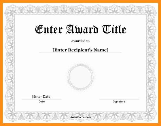 Award Certificate Template Microsoft Word Inspirational 5 6 Templates for Award Certificates In Word