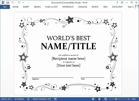 Award Certificate Template Microsoft Word Inspirational Award Certificate Template for Word