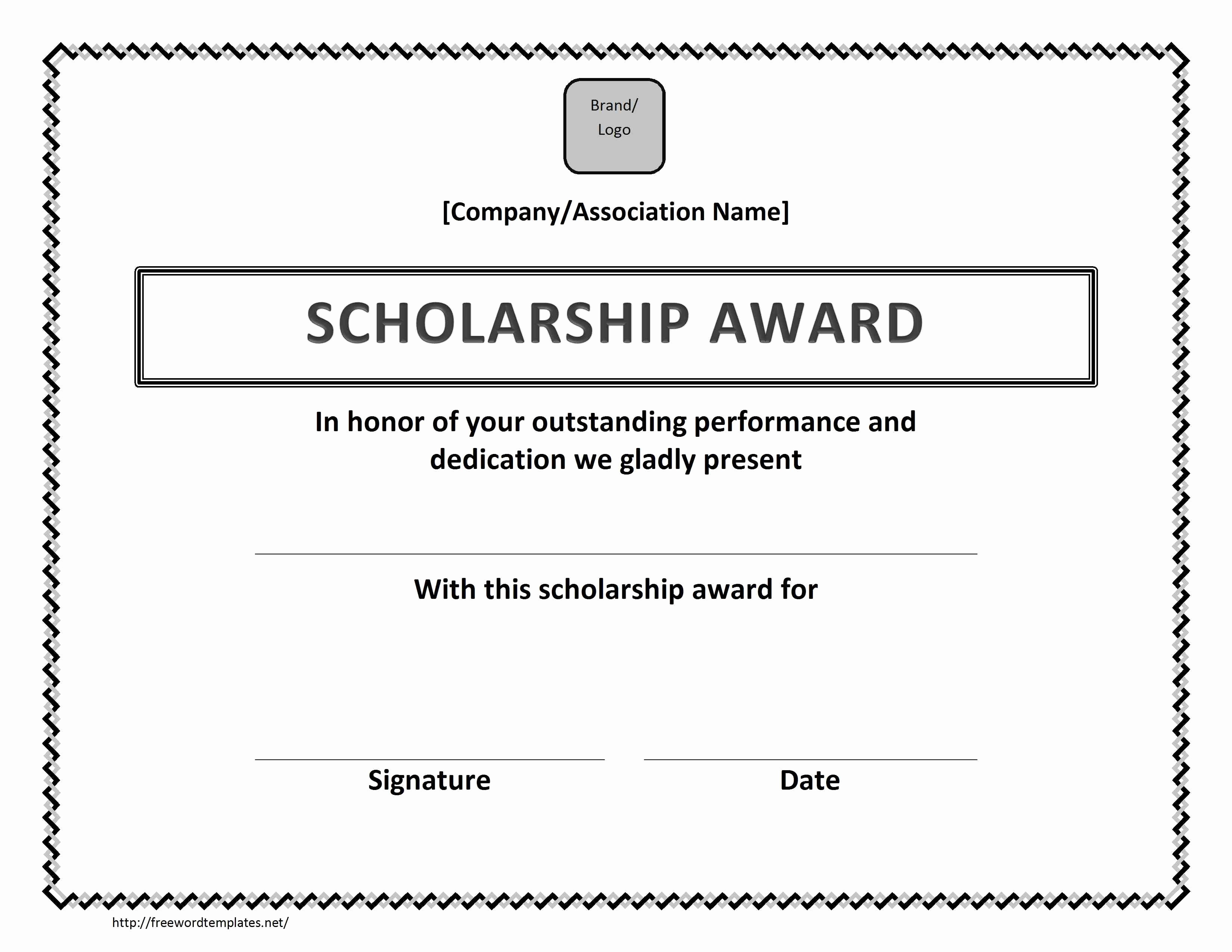 Award Certificate Template Microsoft Word Unique Scholarship Award Certificate Template Free Microsoft Word