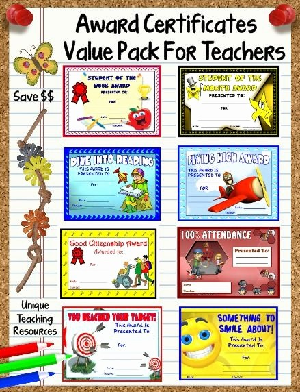 Award Certificates for Elementary Students Beautiful 66 Printable Award Certificates Value Pack for School
