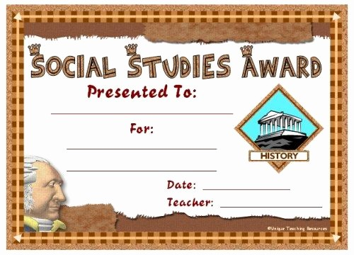 Award Certificates for Elementary Students Beautiful social Stu S Award Certificates