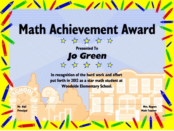 Award Certificates for Elementary Students Best Of Excel Math Printable Math Certificates and Awards
