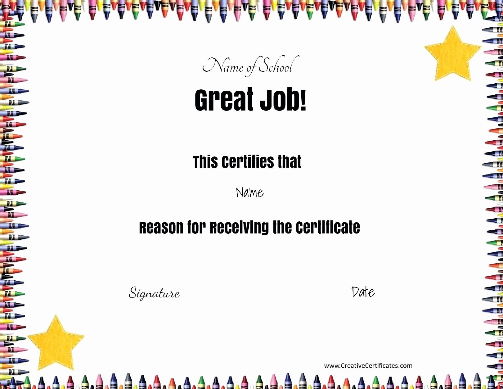 Award Certificates for Elementary Students Elegant Template Kids Certificate Template Free Printable Award