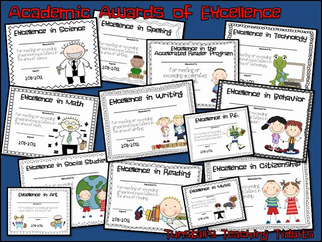 Award Certificates for Elementary Students Elegant Tunstall S Teaching Tidbits Academic Awards for