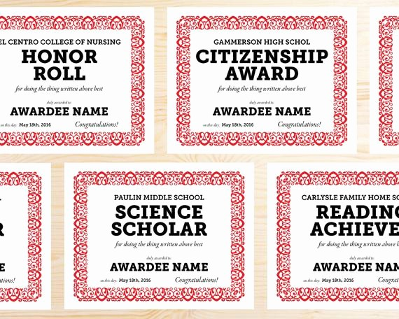 Award Certificates for Elementary Students Lovely Editable School Award Certificates Instant Download