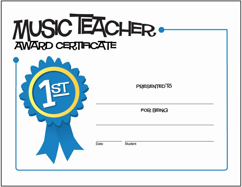Award Certificates for Elementary Students Lovely Free Music Award Certificates