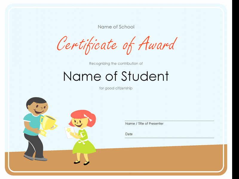 Award Certificates for Elementary Students Luxury Certificate Of Award Elementary Students