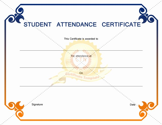 Award Certificates for Students Free Beautiful Editable Student attendance Award Certificate Template V