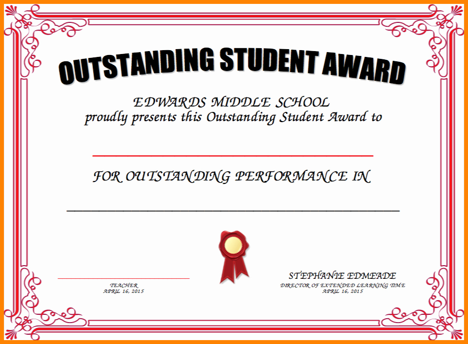 Award Certificates for Students Free Beautiful Outstanding Student Award Certificate Templates 13 Student