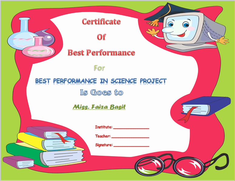 Award Certificates for Students Free Fresh Best Science Student Award Certificate Template