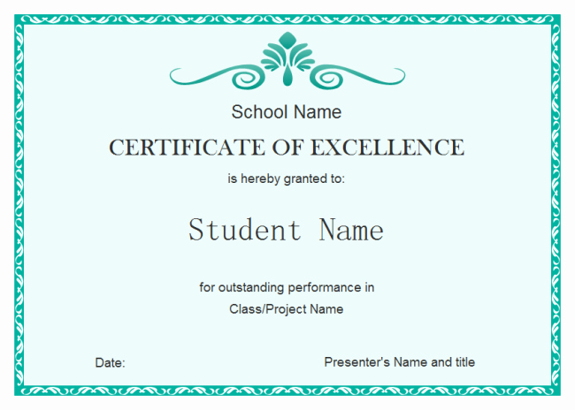 Award Certificates for Students Free Fresh Student Excellence Certificate