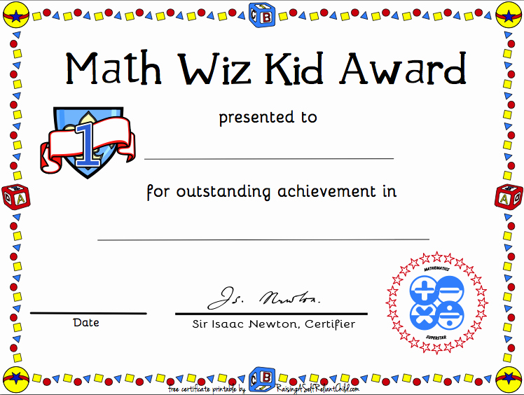 Award Certificates for Students Free Unique Free Printable Math Certificate Of Achievement