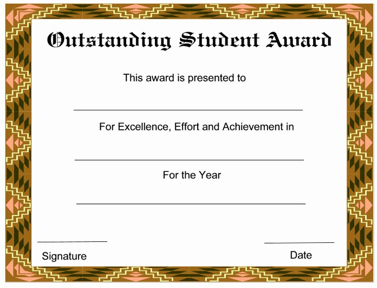 Awards and Certificates for Students Awesome formal Student Academic Award Template Sample V M D