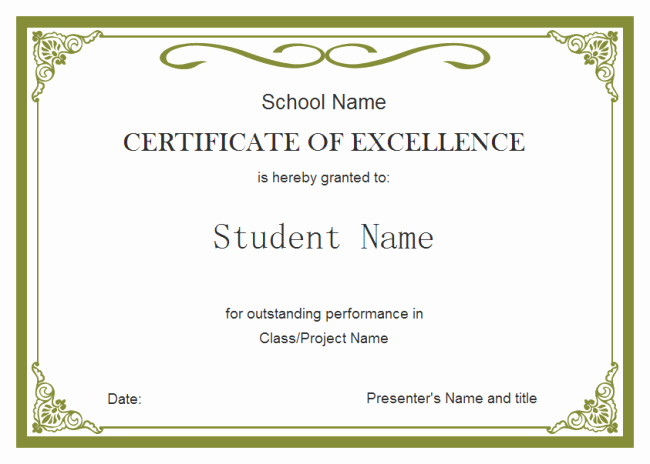 Awards and Certificates for Students Fresh Student Certificate