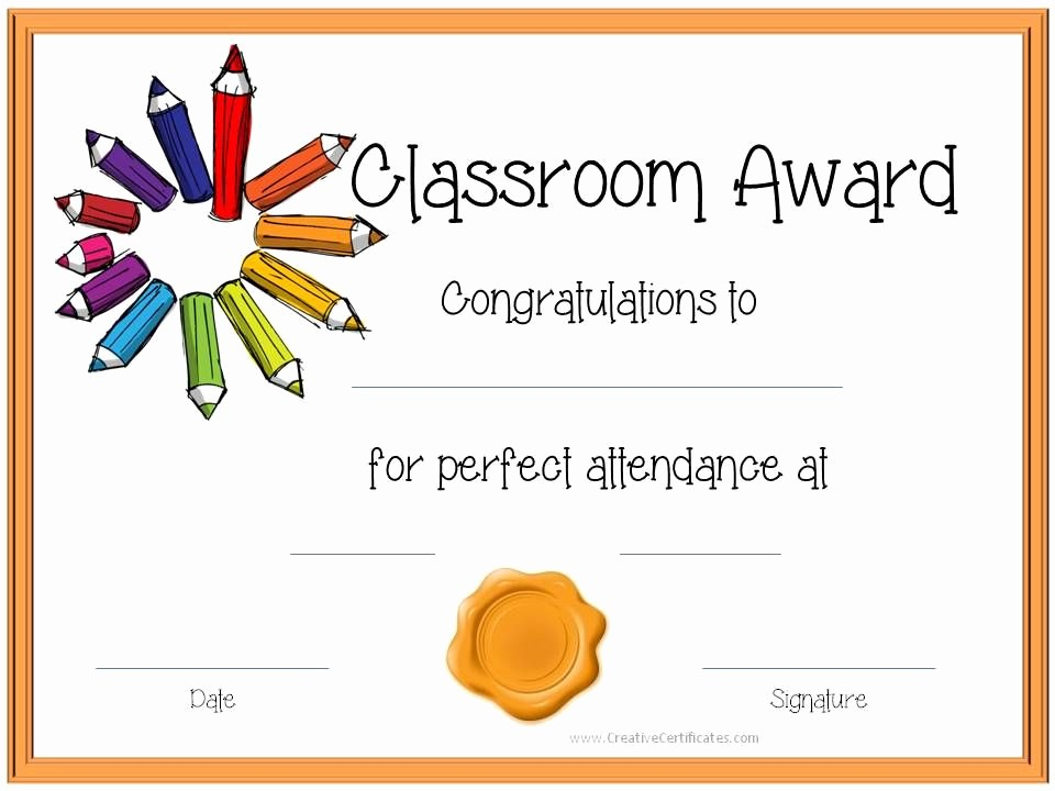 Awards and Certificates for Students Inspirational Certificate Template for Kids Perfect attendance Award