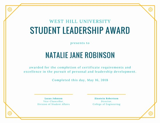 Awards and Certificates for Students Lovely Yellow Student Leadership Award Certificate Templates by