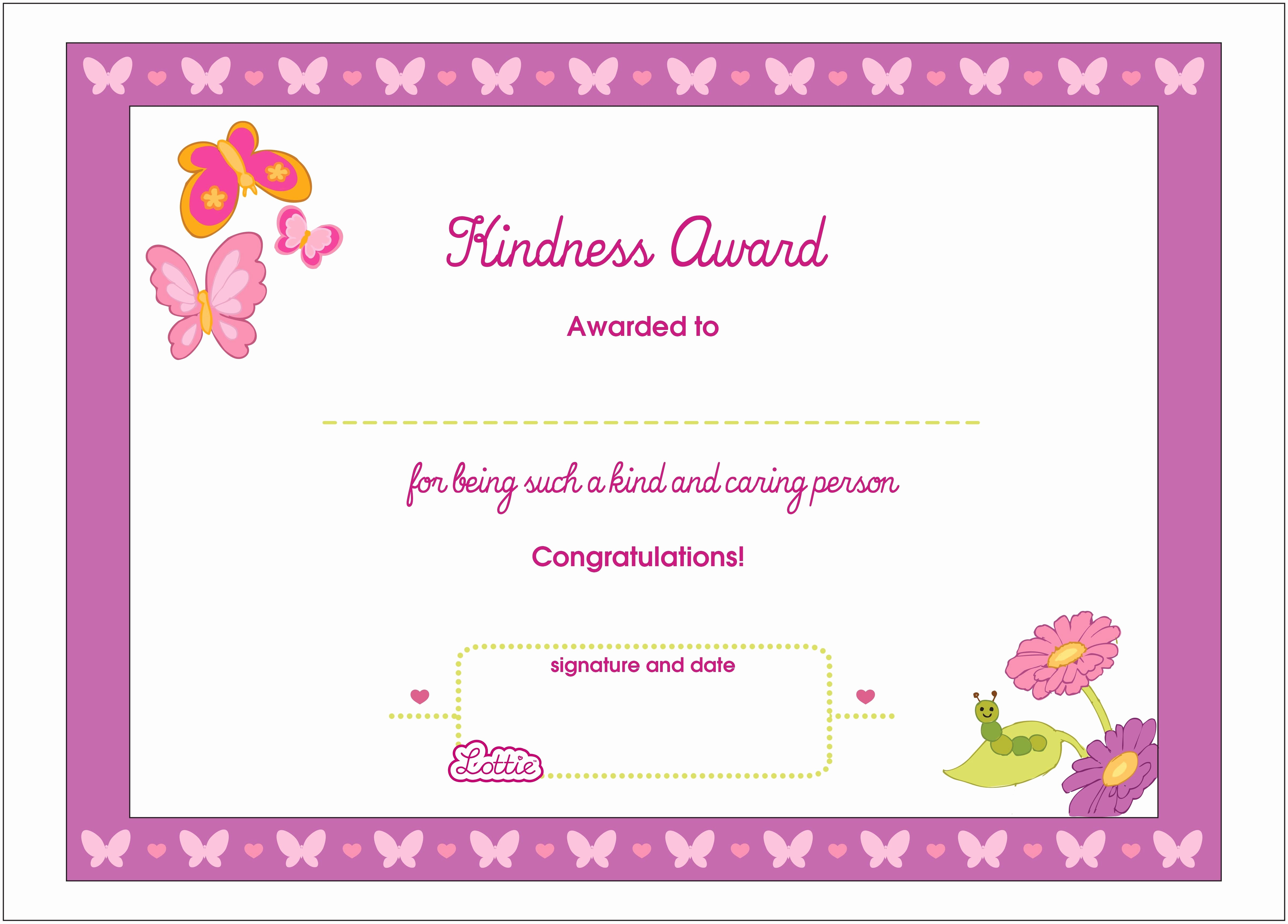Awards and Certificates for Students New Kindness Printable Award Certificate – Lottie Dolls