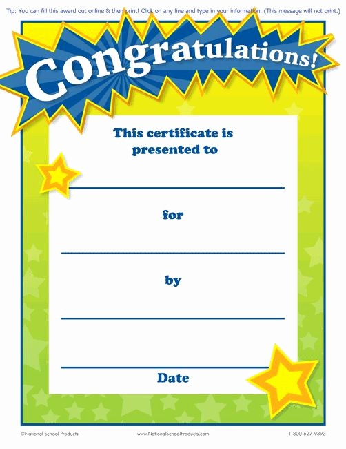 Awards and Certificates for Students Unique Printable Congratulations Award for Teachers Free