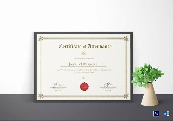 Awards Certificate Template Google Docs Unique 16 Sample attendance Certificate Templates to Download