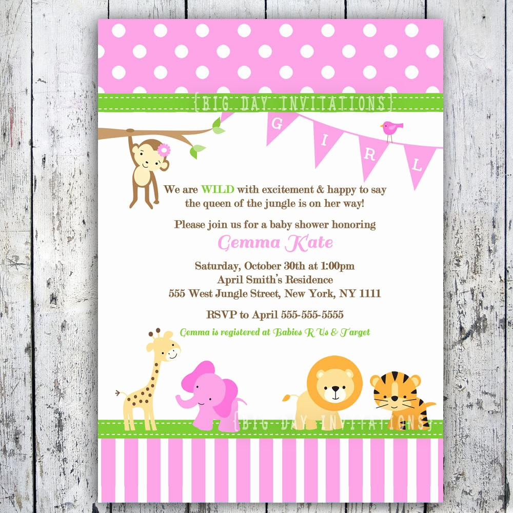 Baby Boy Announcements Free Templates Elegant Baby Shower Invitation Templates Pink Safari Baby Shower