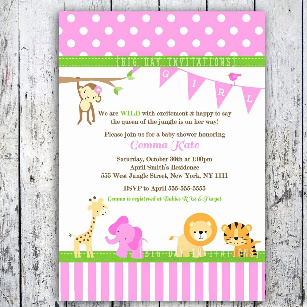 Baby Boy Announcements Free Templates Elegant Baby Shower Invitation Templates Pink Safari Baby Shower