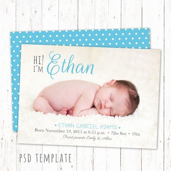 Baby Boy Announcements Free Templates Fresh 12 Best Custom Birth Announcements Images On Pinterest
