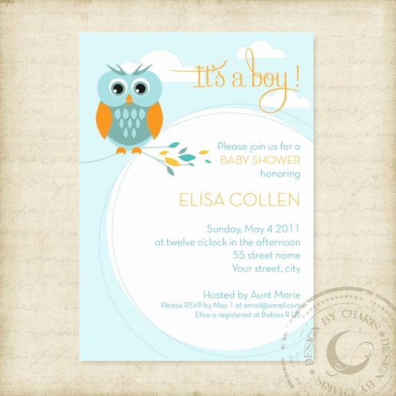 Baby Boy Announcements Free Templates Luxury Baby Shower Invitation Template Owl theme Boy or Girl