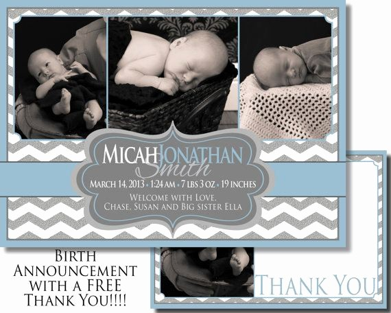 Baby Boy Announcements Free Templates New Baby Boy Birth Announcement with Free Thank You Card