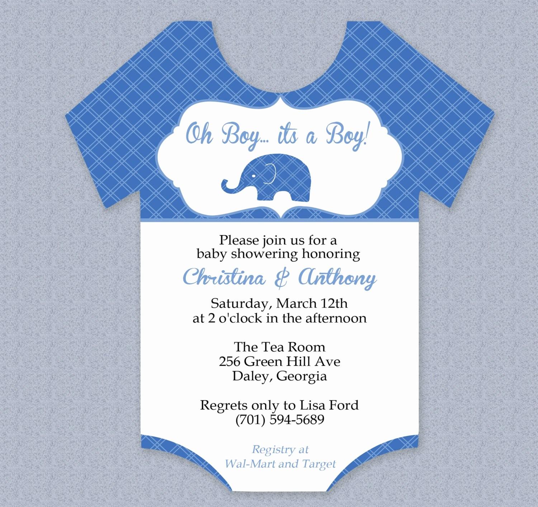 Baby Boy Announcements Free Templates New Plaid Elephant Esie Baby Shower Invitation Editable Cutout