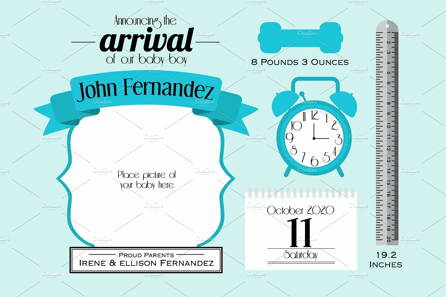 baby boy announcement card template