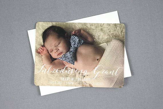 Baby Boy Birth Announcement Template Awesome Introducing New Baby Boy Birth Announcement 5×7 Card with