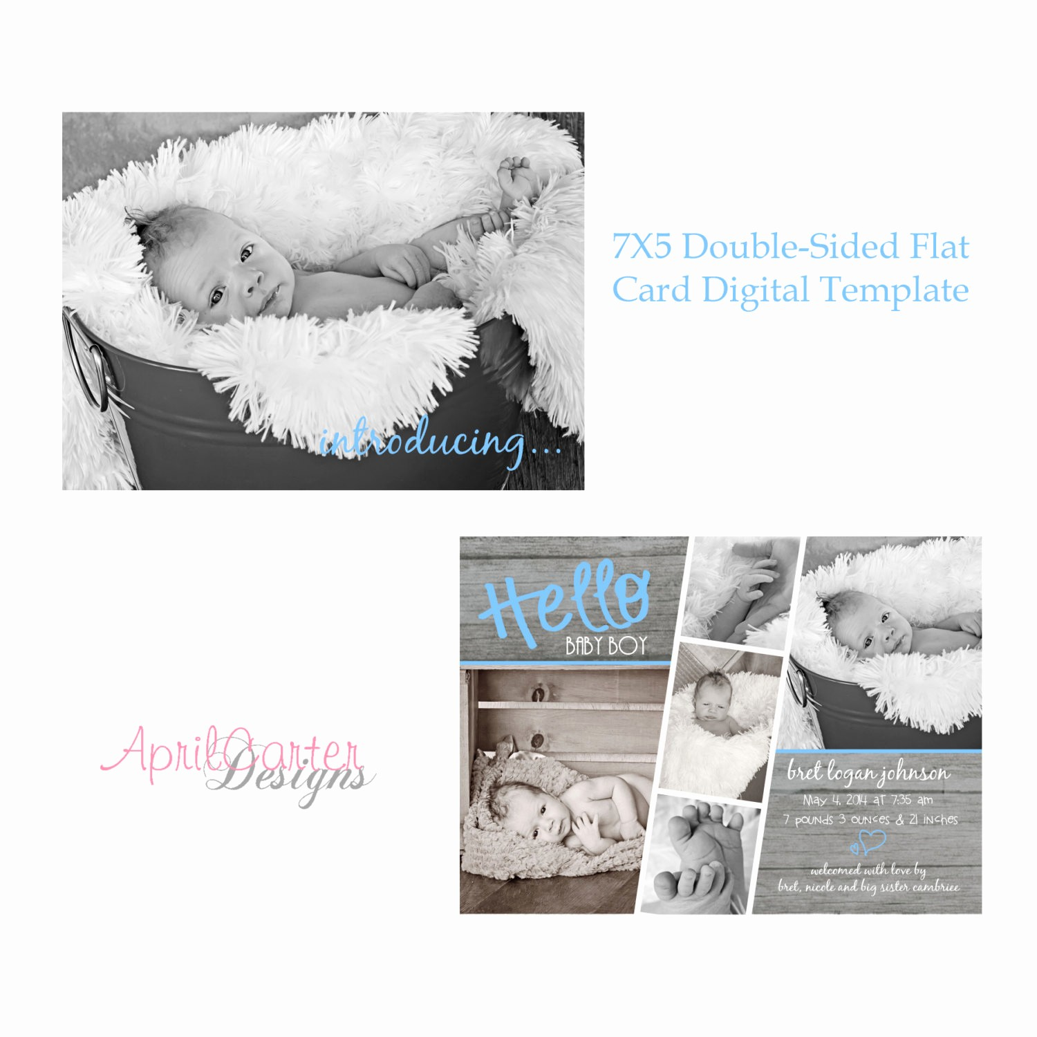 Baby Boy Birth Announcement Template Beautiful Strip Baby Boy Birth Announcement Template 7x5 Flat