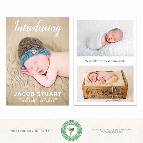 Baby Boy Birth Announcement Template Best Of 5x7 Birth Announcement Card Template Introducing Newborn