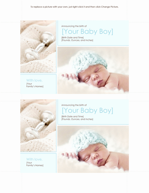 Baby Boy Birth Announcement Template Best Of Free Download Printables Invitation Templates Baby Boy