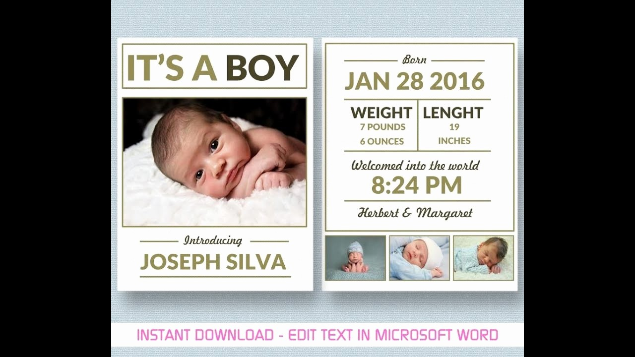 Baby Boy Birth Announcement Template Elegant Baby Boy Announcement Template for Ms Word