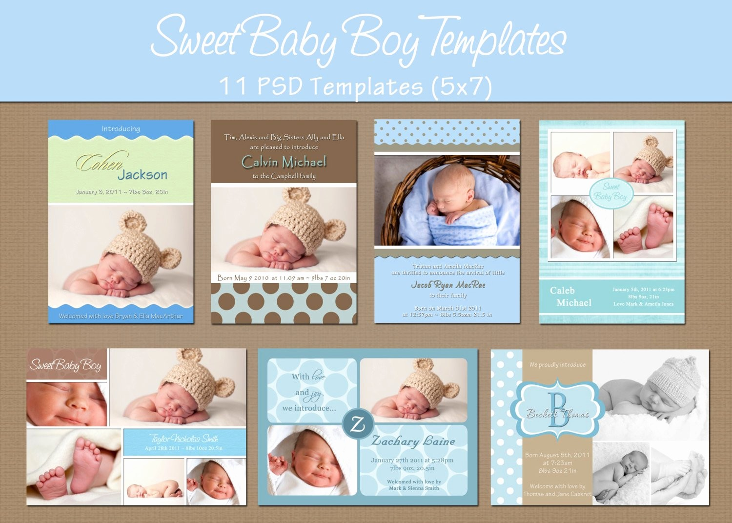 Baby Boy Birth Announcement Template Elegant Instant Download Birth Announcement by Whimsicalcreationspc