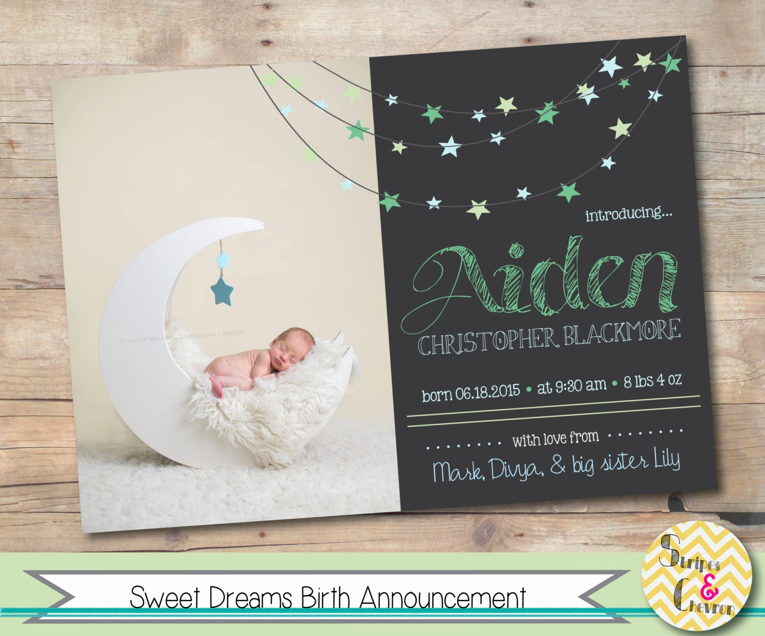 Baby Boy Birth Announcement Template Lovely Baby Birth Announcement Template Baby Boy or Baby Girl Moon