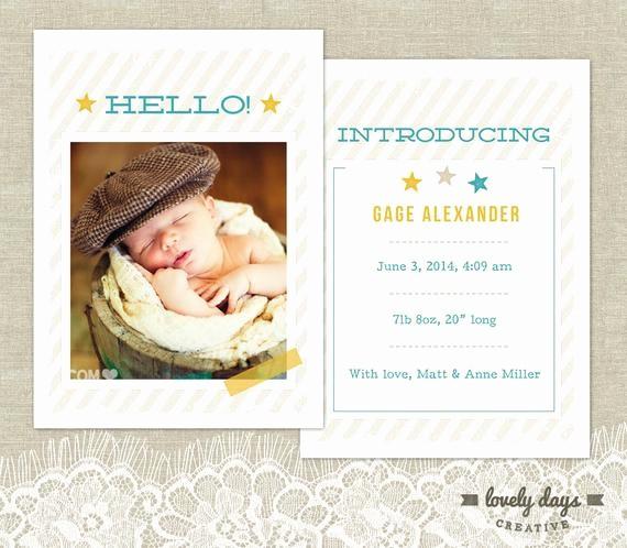 Baby Boy Birth Announcement Template New Birth Announcement Template for Baby Boy Instant Download