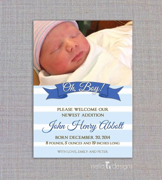 Baby Boy Birth Announcement Template New Items Similar to Baby Boy Birth Announcement Birth