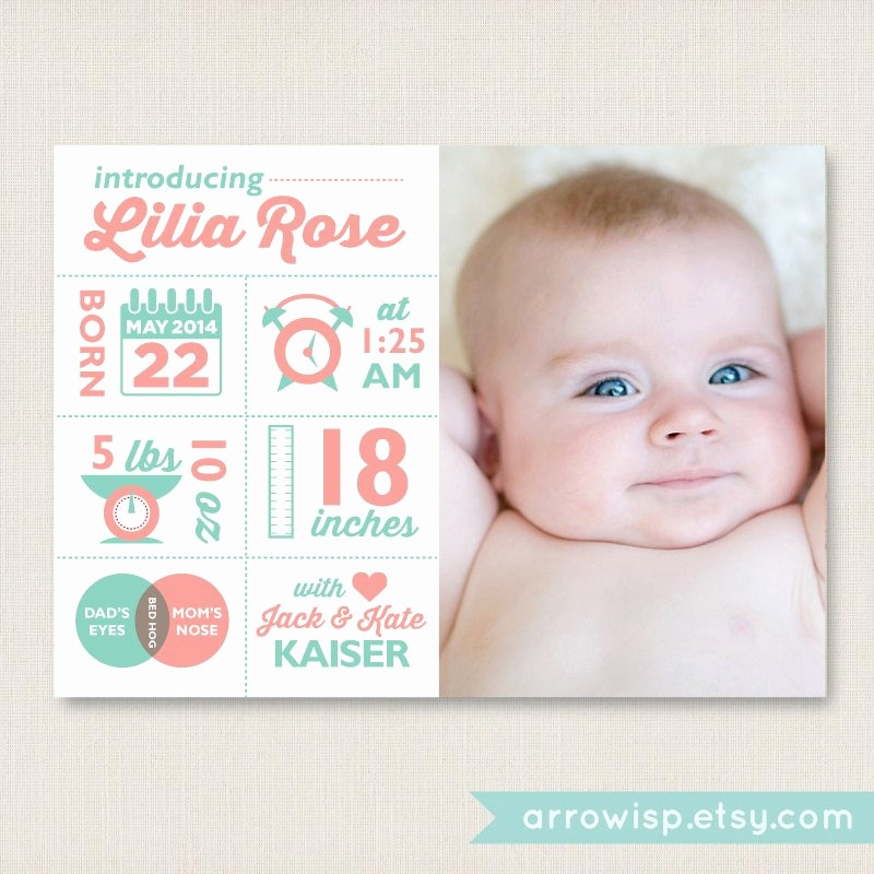 Baby Girl Birth Announcements Template Best Of Infographic Birth Announcement Customized Card for