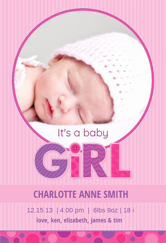 Baby Girl Birth Announcements Template Best Of Pink Stripes Baby Girl Free Birth Announcement Template