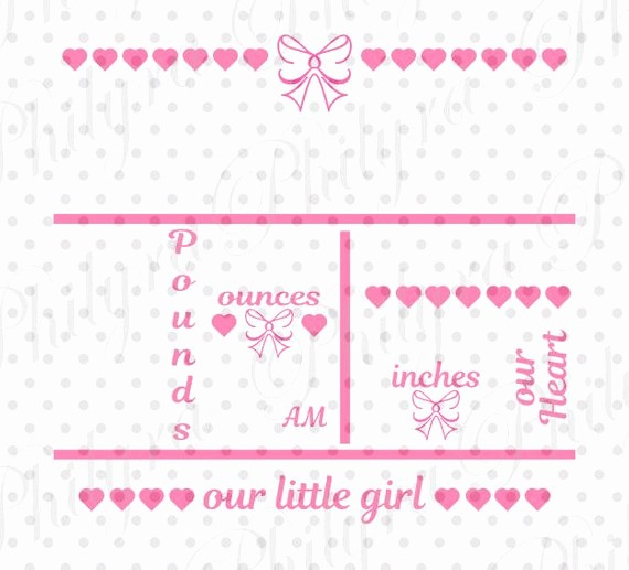 Baby Girl Birth Announcements Template Elegant Baby Girl Birth Statistic Template Birth Announcement Svg