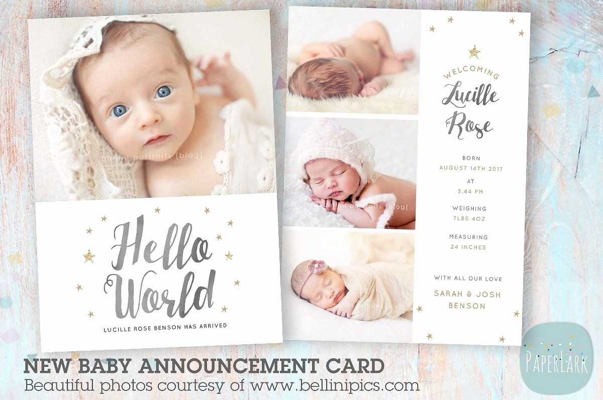 Baby Girl Birth Announcements Template Fresh An009 Newborn Baby Card Announcement by Paper Lark On