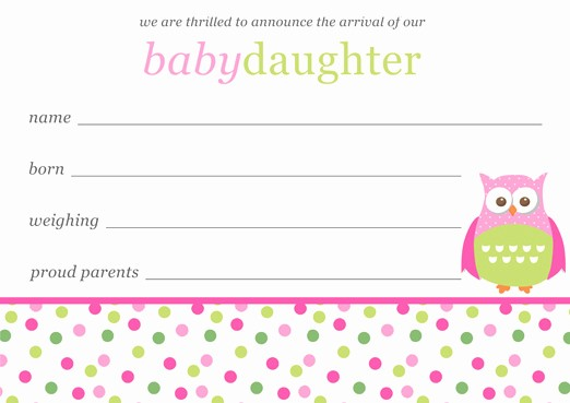 Baby Girl Birth Announcements Template Fresh Baby Girl Birth Announcements Template Free Download
