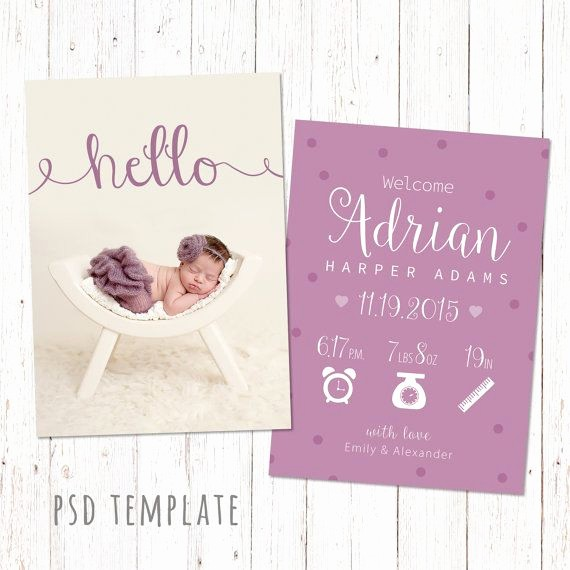 Baby Girl Birth Announcements Template Fresh Birth Announcement Template Card Digital Baby Girl Birth