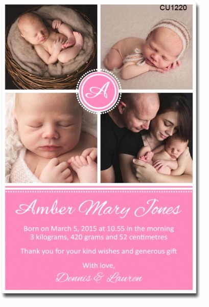 Baby Girl Birth Announcements Template Fresh Cu1220 Baby Girl Birth Announcement Template Girls