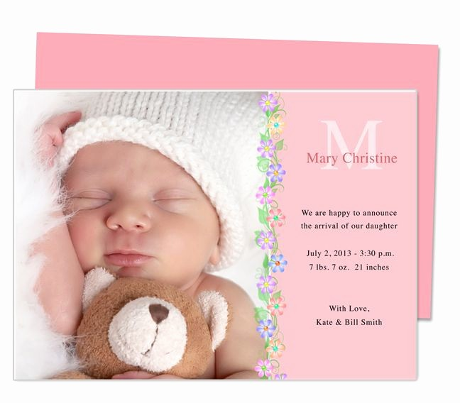 Baby Girl Birth Announcements Template Fresh Printable Baby Birth Announcement Template Design with