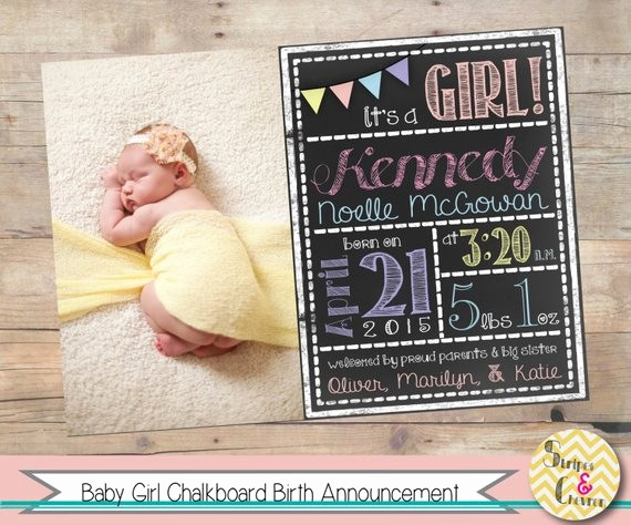 Baby Girl Birth Announcements Template Inspirational Baby Girl Birth Announcement Printable Chalkboard Baby
