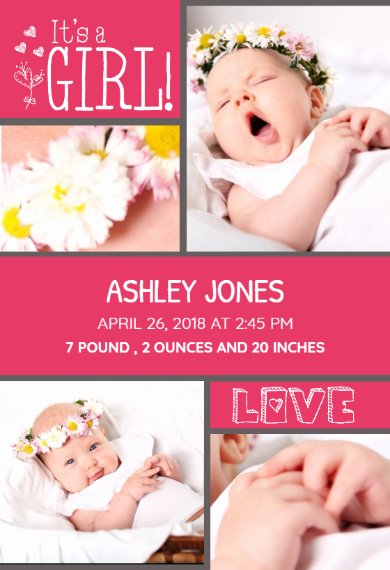 Baby Girl Birth Announcements Template Inspirational Must Be Love Baby Girl Free Birth Announcement Template